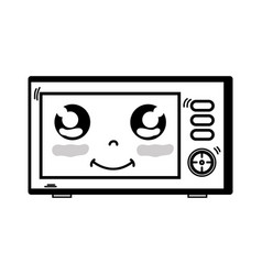 Line kawaii cute happy microwaves technology vector