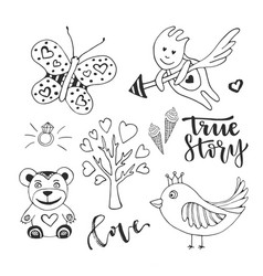 Love day set of cute doodle sketch design vector