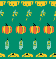 Maize plant crop and pumpkins on green background vector