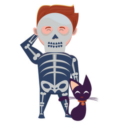 Man with halloween skull costume and cat vector