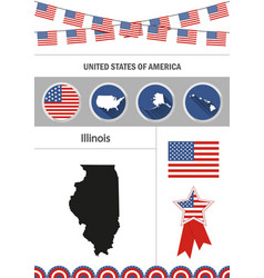 Map of illinois set of flat design icons vector
