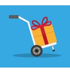 Metallic hand truck with orange gift box vector
