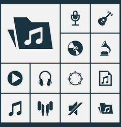 Music icons set collection of instrument silence vector