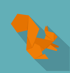 Origami squirrel icon flat style vector