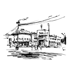 Original black and white digital sketch of Kyiv vector