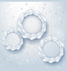 Paper art xmas wreaths vector