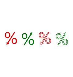 Percent icon percentage with arrow to down and up vector