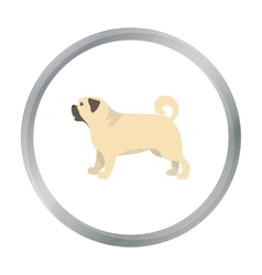 Pug icon in cartoon style for web vector