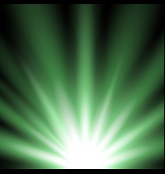 Rays of light from below green color vector