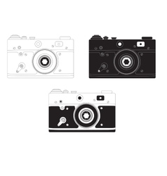 Retro camera in different design options vector