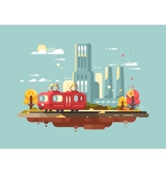 Retro tram design flat vector image