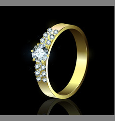 Ring with diamonds on black background vector