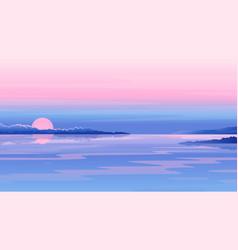 river sunset landscape vector image