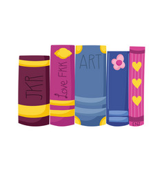 Row books different literature book day vector