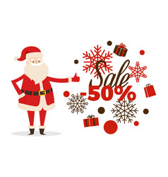 Sale poster up to 50 price reduction santa icon vector