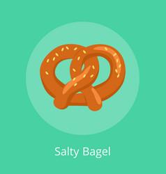Salty bagel pretzel crisp biscuit baked form knot vector