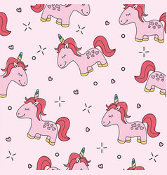 Seamless pink unicorn pattern vector