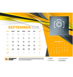 September 2018 desk calendar design template with vector