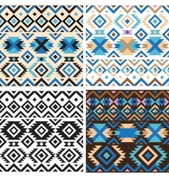 Set of geometry tribal seamless patterns vector