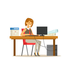 smiling businesswoman character in a suit working vector image