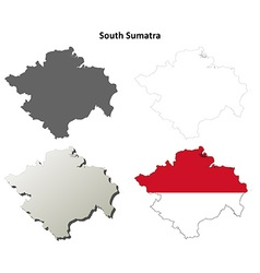 South Sumatra blank outline map set vector