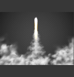 space fly rocket shuttle or spaceship takeoff vector image
