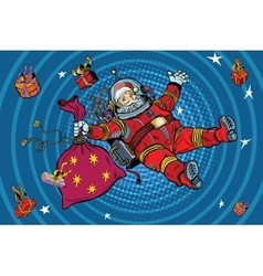 Space Santa Claus in zero gravity with Christmas vector