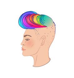 Stosck-1algbt person with rainbow hair vector