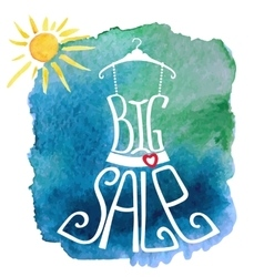 Summer Big Sale letteringDresswatercolor sun vector image