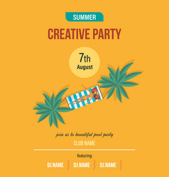 Summer invitation to event on party near pool vector