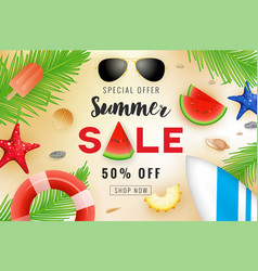 Summer sale banner background design vector