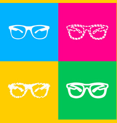 Sunglasses sign four styles of icon vector