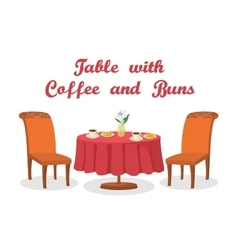 Table with Coffee and Buns Isolated vector image