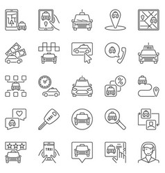 taxi outline icons set - taxi service vector image