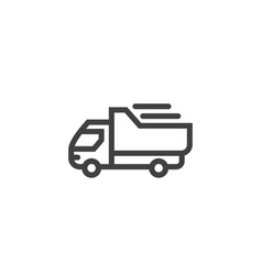 truck line icon isolated on a white background vector image