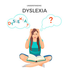 Understanding dyslexia known as mental disorder vector