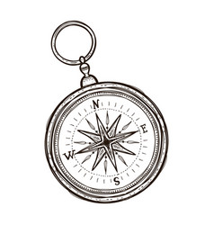 Vintage antique retro style compass coloring book vector