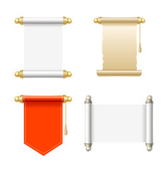 Vintage blank paper scroll icon set vector