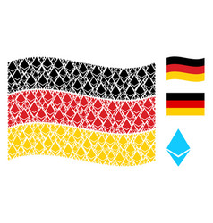 waving germany flag pattern of ethereum crystal vector image