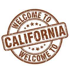 Welcome to california brown round vintage stamp vector