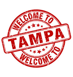 Welcome to tampa red round vintage stamp vector