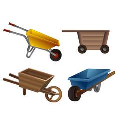 Wheelbarrow icons set cartoon style vector