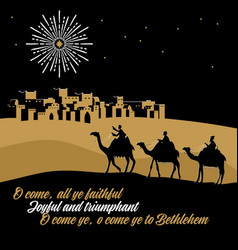 Wise men go to bethlehem to worship vector
