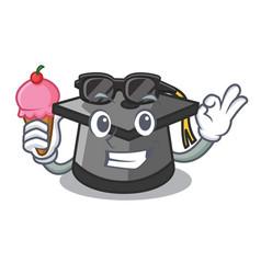 with ice cream graduation hat character cartoon vector image