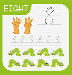 Writing practise number eight vector