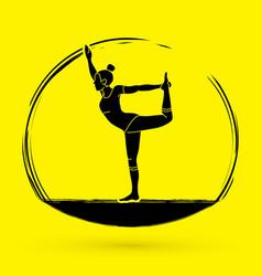 yoga pose woman training yoga graphic vector image
