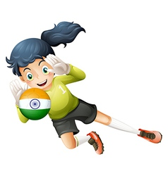 A female player using the ball with the flag of vector image vector image