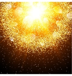 Abstract explosion with gold glittering elements vector image