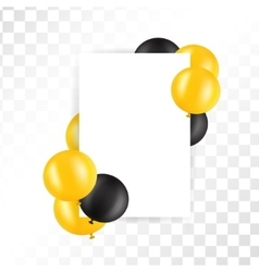 Black and gold ballons on transparent background vector image vector image