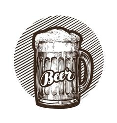 Craft beer mug with foam Sketch vector image vector image